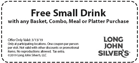 LongJohnSilvers.com Promo Coupon Free drink with your basket today at Long John Silvers