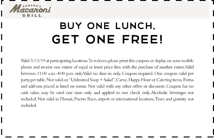 Macaroni Grill Coupon September 2019 Second lunch free today at Macaroni Grill