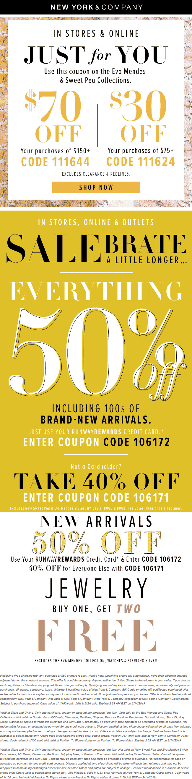 NewYork&Company.com Promo Coupon $30 off $75 & more today at New York & Company, or online via promo code 111624