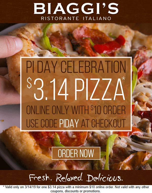 Biaggis Coupon May 2019 $3.14 pizza online today at Biaggis restaurants via promo code PIDAY