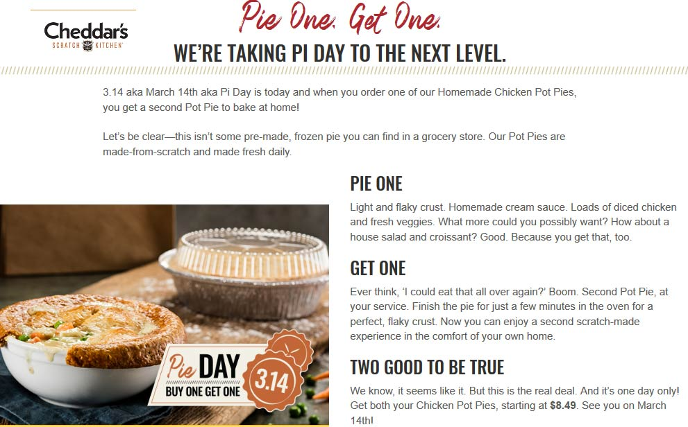 CheddarsScratchKitchen.com Promo Coupon Second pot pie free today at Cheddars Scratch Kitchen