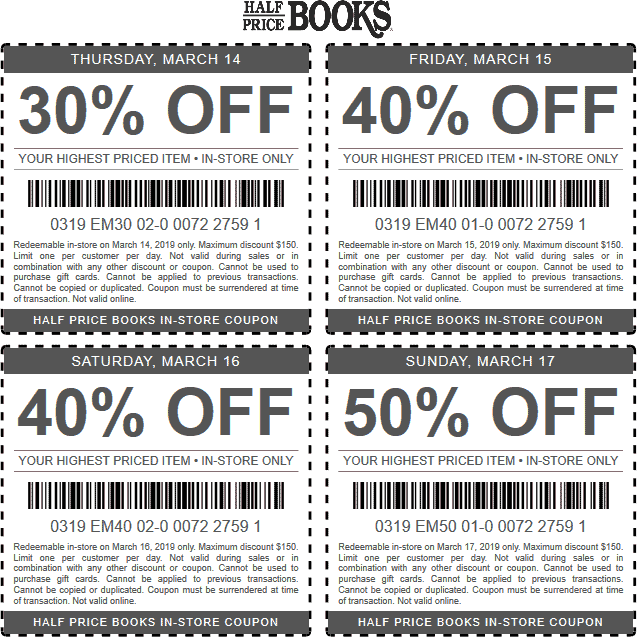 Half Price Books Coupon June 2019 30-50% off a single item at Half Price Books