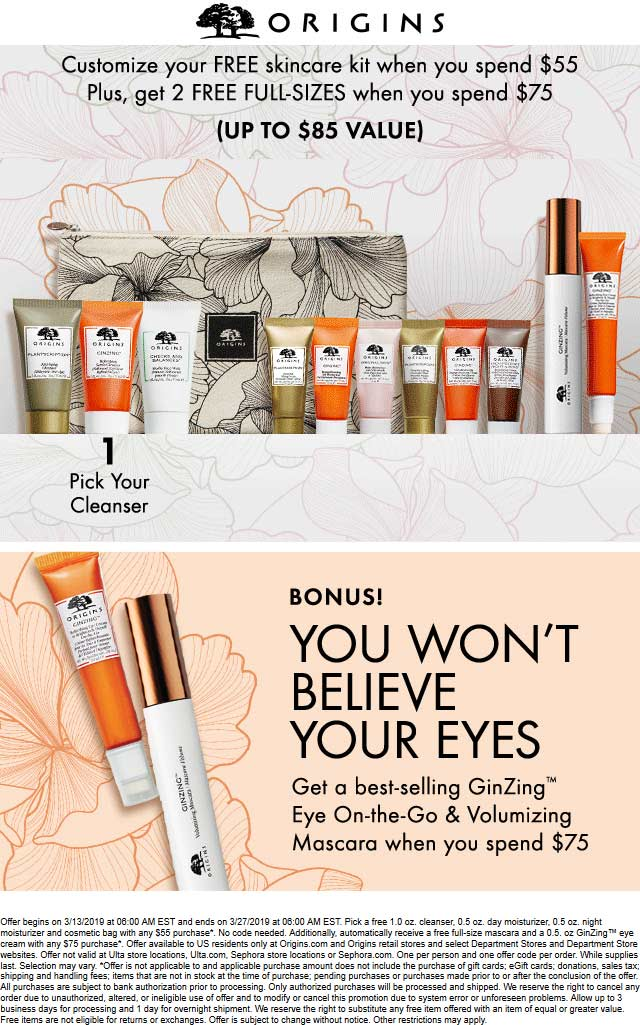 Origins Coupon August 2019 2 free full-sizes + 4pc skin kit with $75 spent at Origins, ditto online
