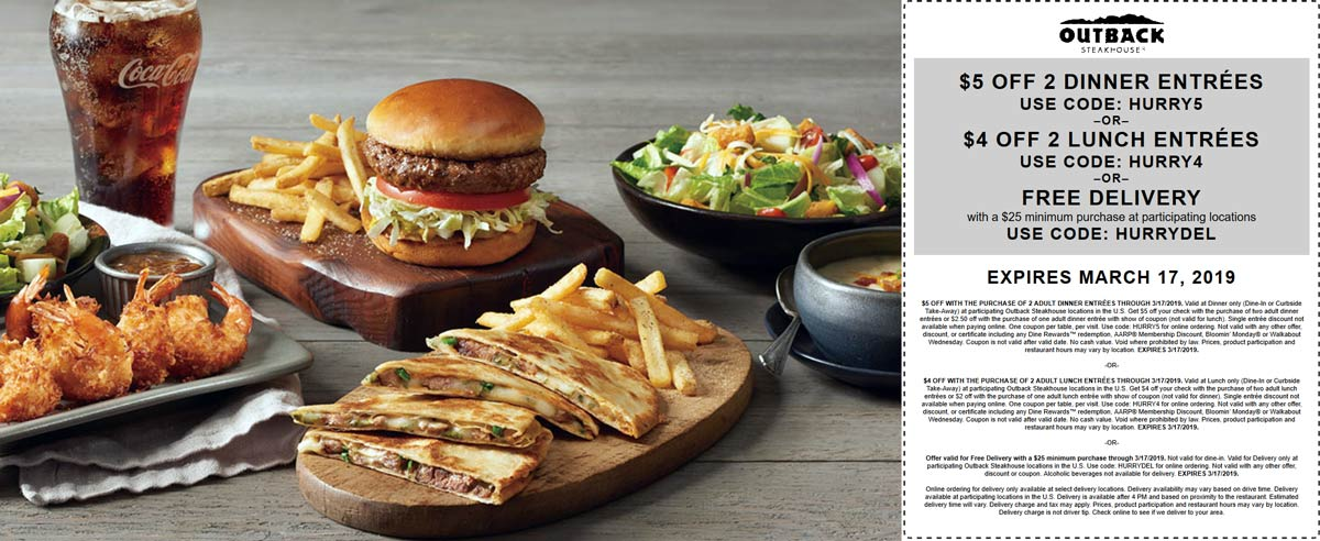 Outback Steakhouse Coupon May 2019 $4 off a couple lunches, $5 off dinner at Outback Steakhouse