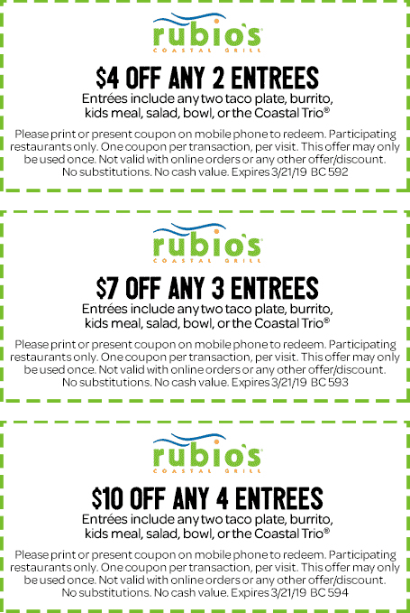 Rubios Coupon November 2019 $4-$10 off your entrees at Rubios restaurants