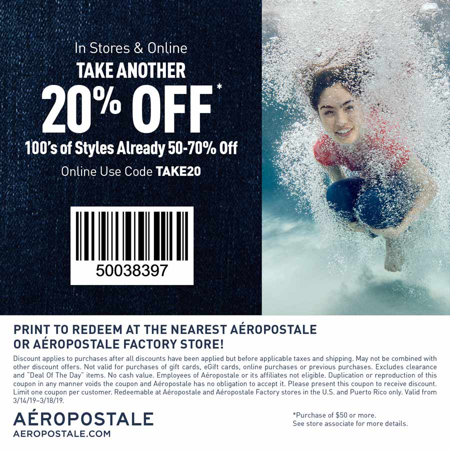 Aeropostale Coupon September 2019 Extra 20% off at Aeropostale & factory, or online via promo code TAKE20