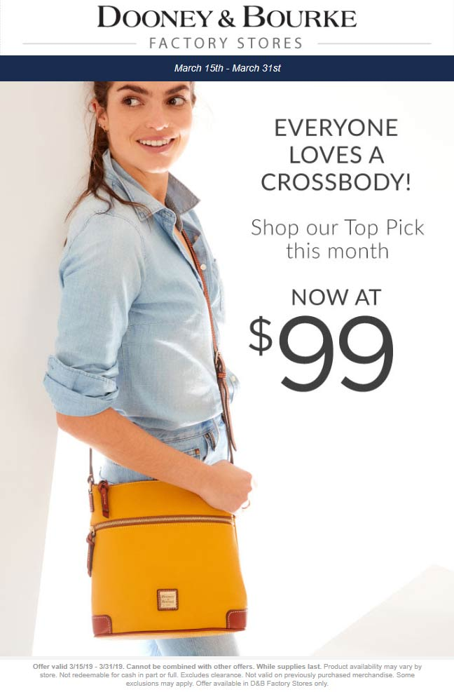 Dooney & Bourke Factory Coupon May 2019 $99 crossbody bags at Dooney & Bourke Factory