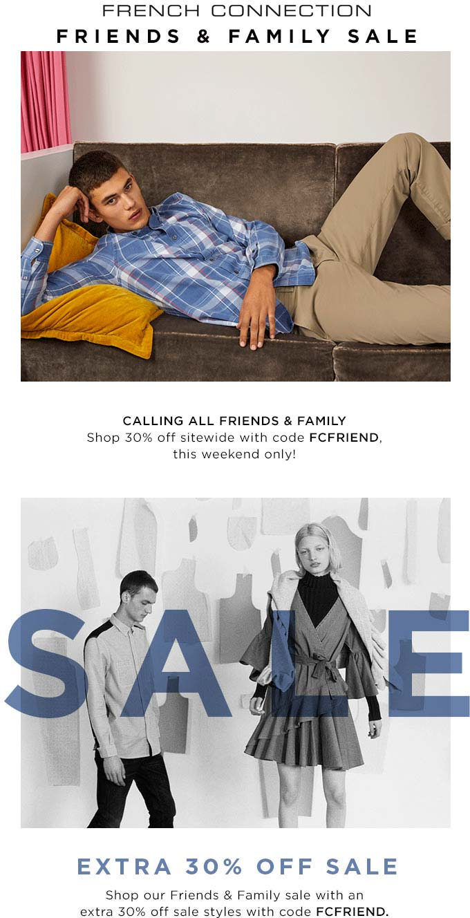 French Connection Coupon May 2019 30% off at French Connection via promo code FCFRIEND