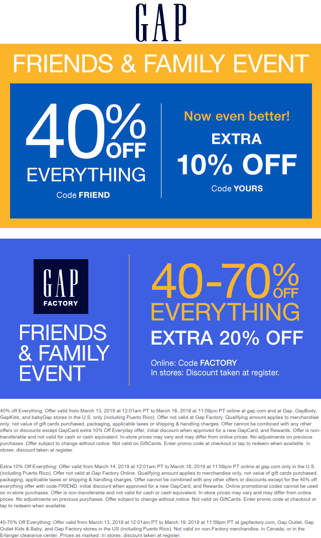 Gap Coupon January 2020 50% off at Gap, or online via promo code YOURS