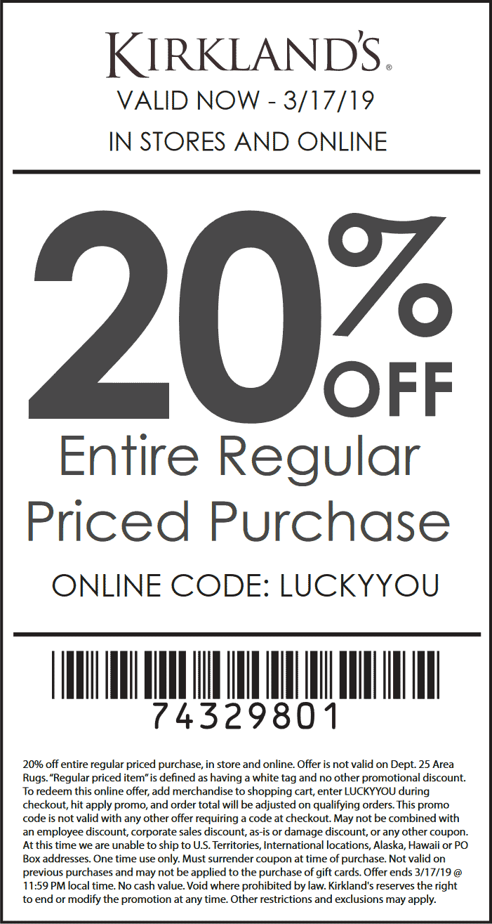 Kirklands Coupon September 2019 Extra 20% off at Kirklands, or online via promo code LUCKYYOU