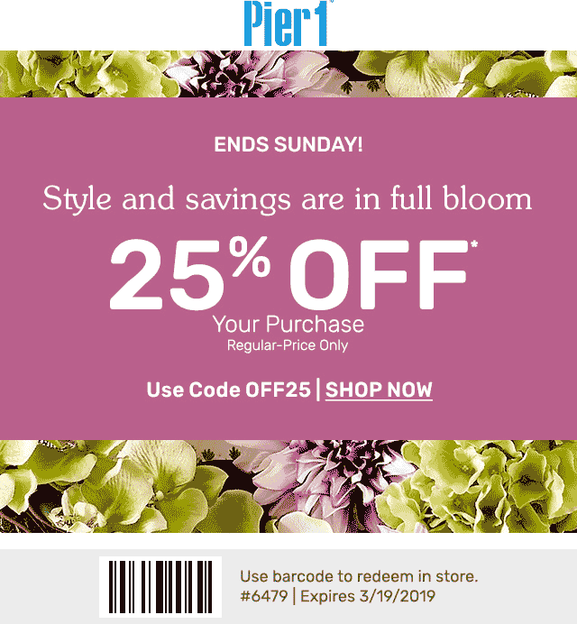 Pier 1 Coupon July 2019 25% off at Pier 1, or online via promo code OFF25