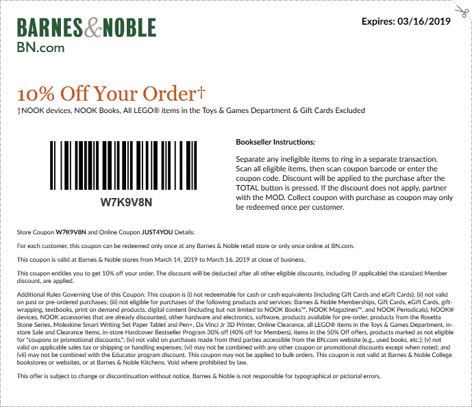 Barnes & Noble Coupon November 2019 10% off today at Barnes & Noble, or online via promo code JUST4YOU