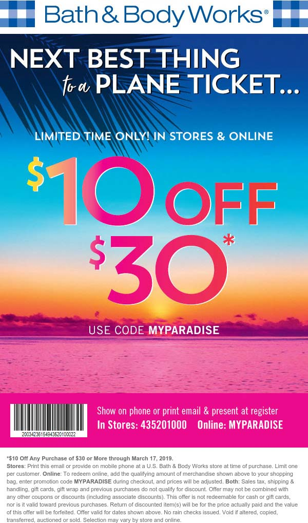 Bath & Body Works Coupon November 2019 $10 off $30 at Bath & Body Works, or online via promo code MYPARADISE