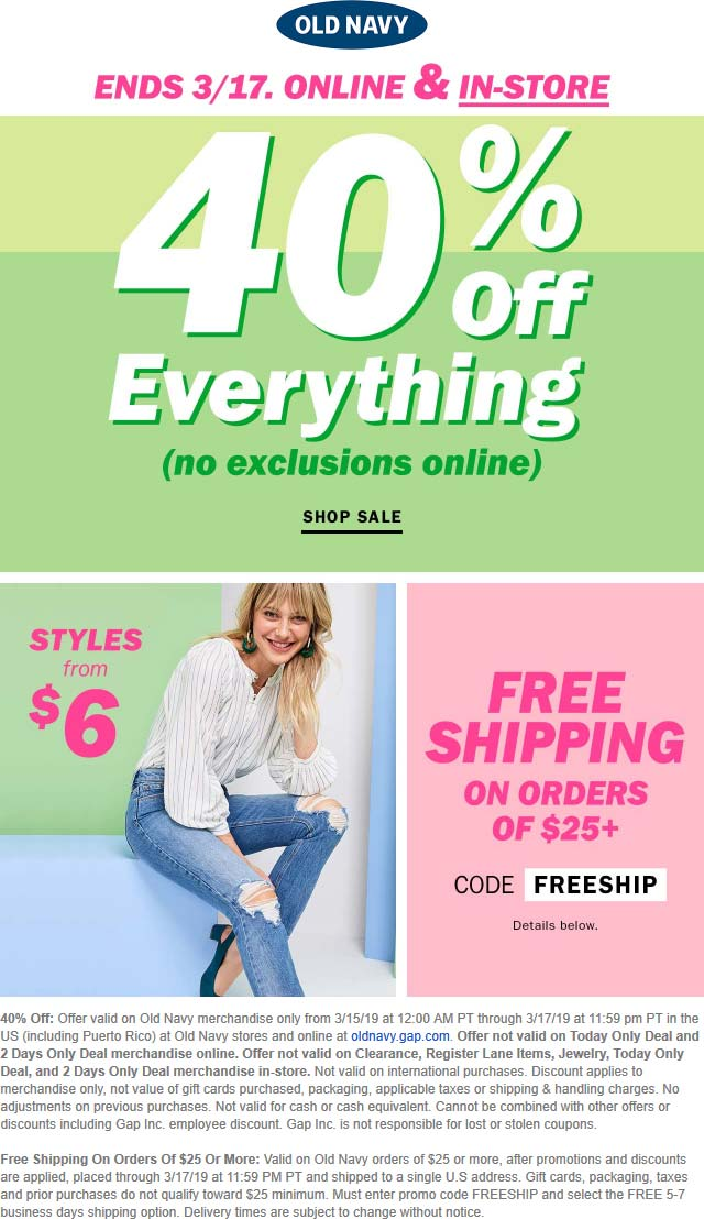 Old Navy Coupon July 2019 40% off everything at Old Navy, ditto online