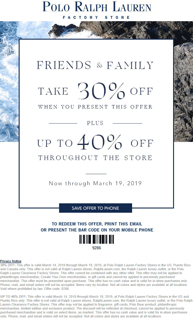 Polo Ralph Lauren Factory Coupon August 2019 30% off at Polo Ralph Lauren Factory