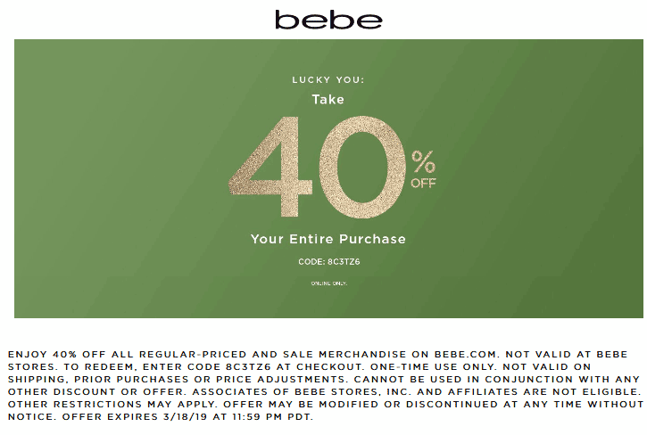 Bebe.com Promo Coupon 40% off online at bebe via promo code 8C3TZ6