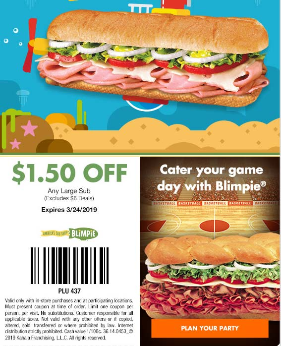 Blimpie Coupon June 2019 $1.50 off your sub sandwich at Blimpie