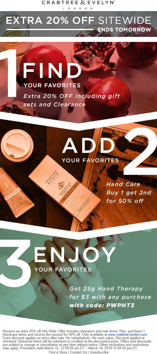 Crabtree & Evelyn Coupon October 2019 20% off everything & more online at Crabtree & Evelyn via promo code PWPHT3