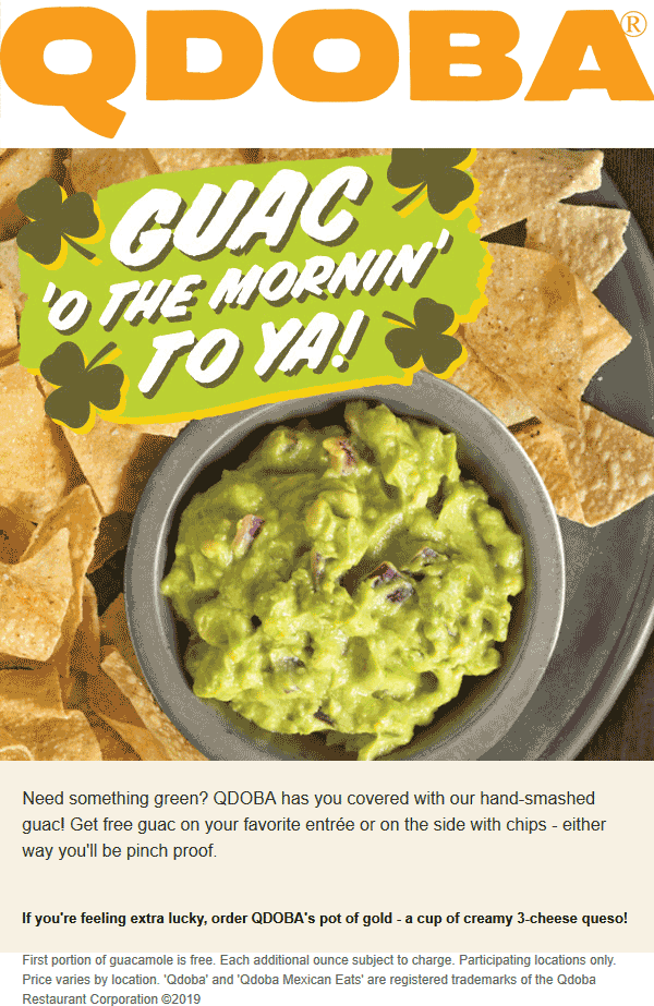 Qdoba Coupon July 2019 Free guacamole today at Qdoba restaurants
