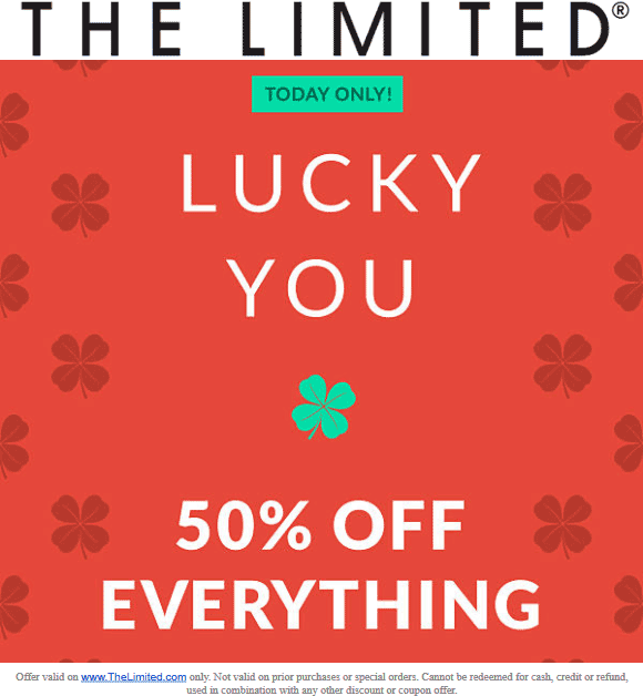 The Limited Coupon November 2019 50% off online today at The Limited