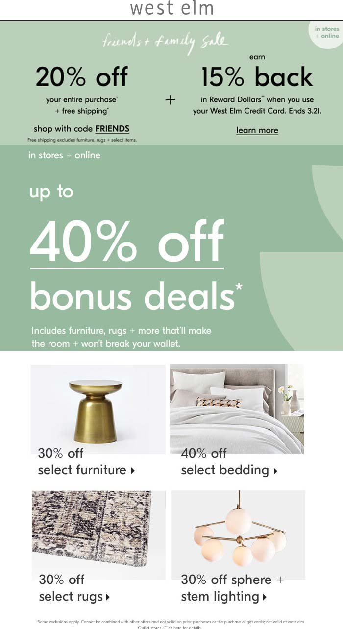 West Elm Coupon January 2020 20% off at West Elm, or online via promo code FRIENDS