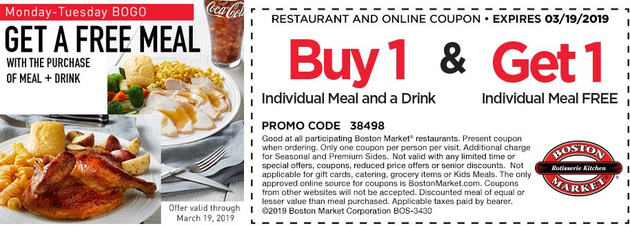 Boston Market Coupon September 2019 Second meal free at Boston Market