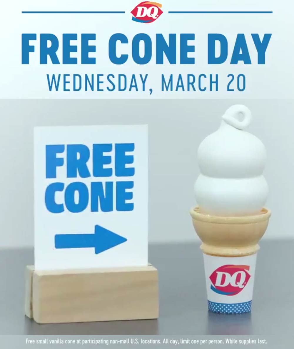 Dairy Queen Coupon June 2019 Free ice cream cone day Wednesday at Dairy Queen