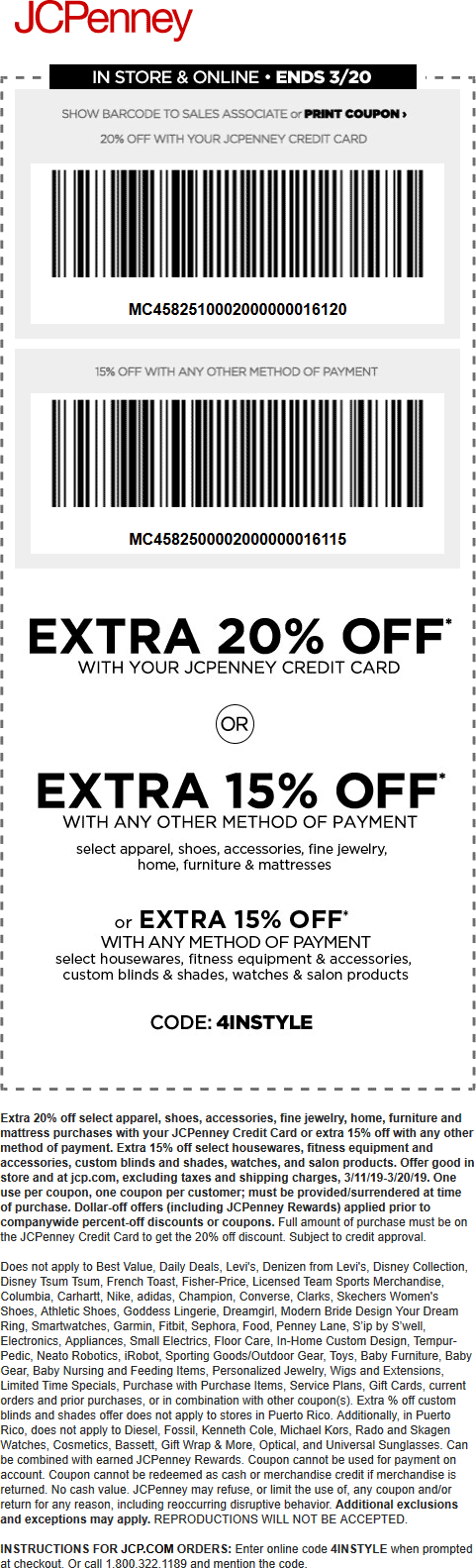 JCPenney Coupon January 2020 15% off at JCPenney, or online via promo code 4INSTYLE