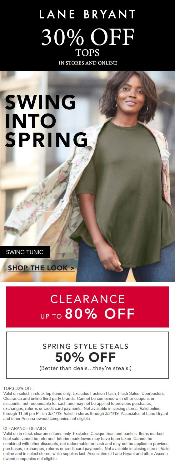 Lane Bryant Coupon August 2019 30% off tops at Lane Bryant, ditto online