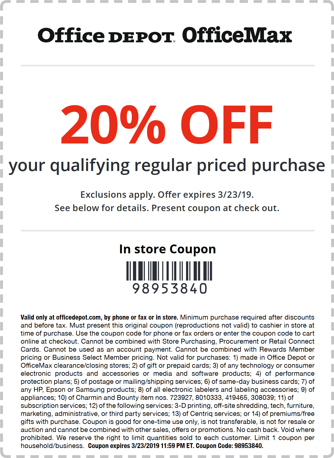 Office Depot Coupon November 2019 20% off at Office Depot & OfficeMax, or online via promo code 98953840