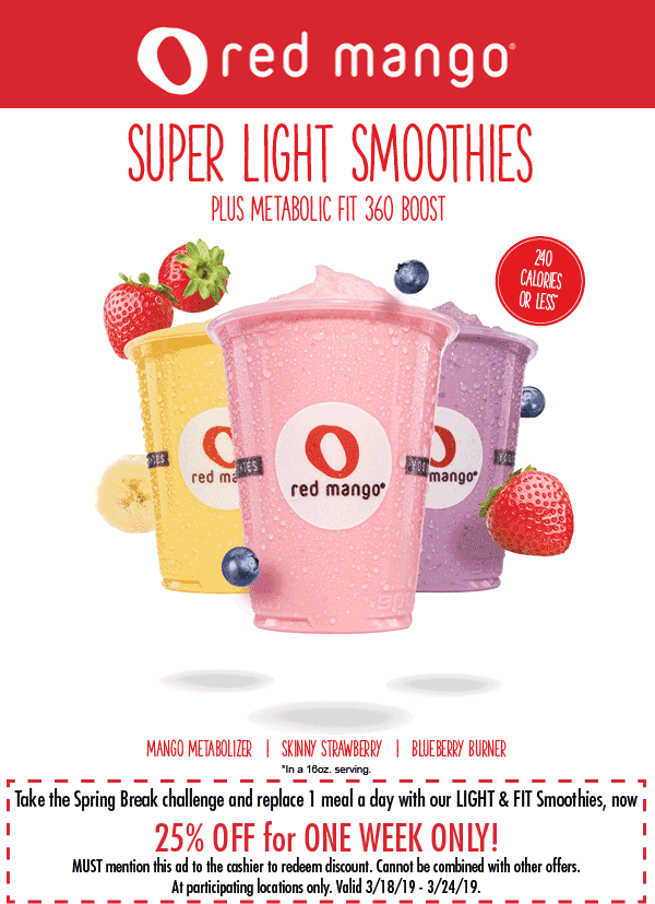 Red Mango Coupon June 2019 25% off light smoothies at Red Mango