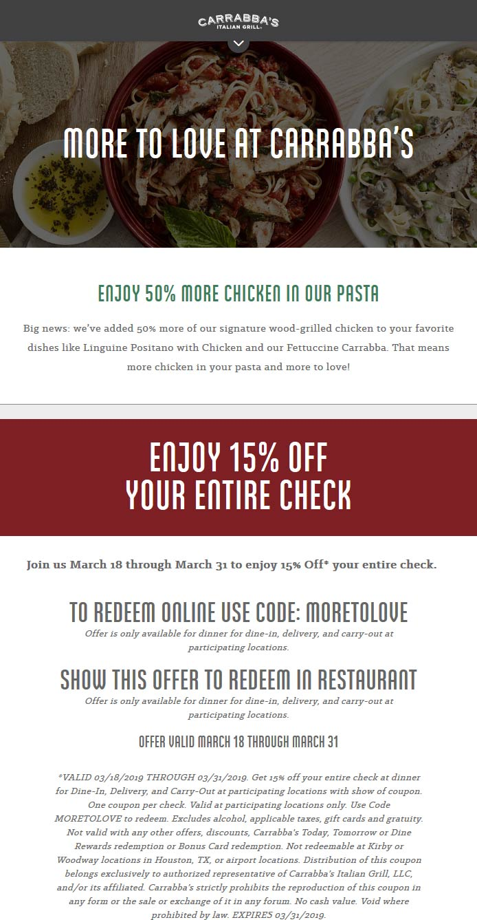 Carrabbas Coupon November 2019 15% off at Carrabbas, or online via promo code MORETOLOVE