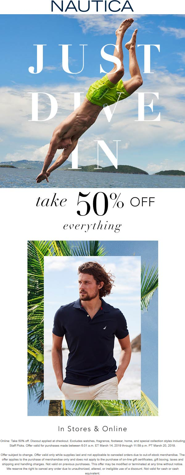 Nautica Coupon November 2019 50% off everything at Nautica, ditto online