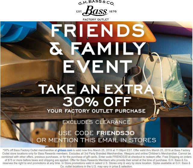 Bass Factory Outlet Coupon November 2019 Extra 30% off at G.H. Bass Factory Outlet, or online via promo code FRIENDS30