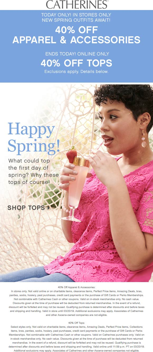 Catherines Coupon April 2019 40% off today at Catherines, or just on tops online