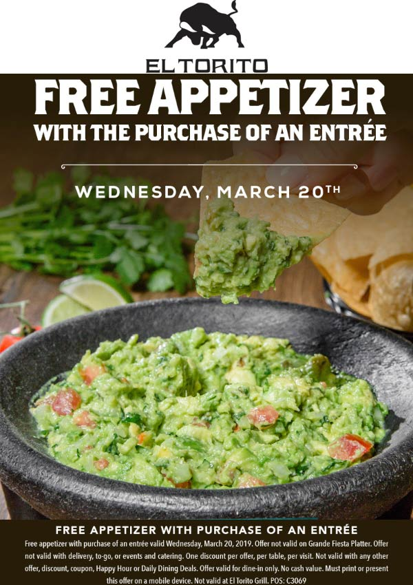 El Torito Coupon May 2019 Free appetizer with your entree today at El Torito