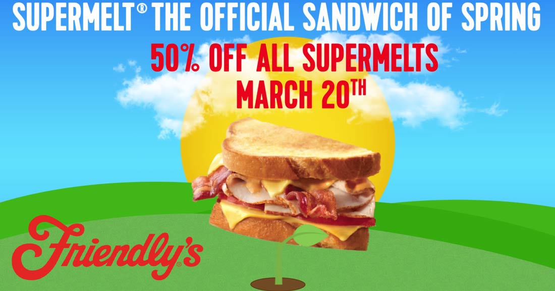 Friendlys.com Promo Coupon 50% off supermelts today at Friendlys restaurants