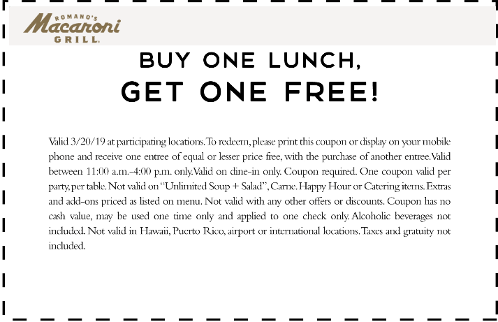 Macaroni Grill Coupon December 2019 Second lunch free today at Macaroni Grill