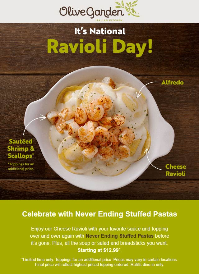 Olive Garden Coupon August 2019 Bottomless stuffed pastas today at Olive Garden restaurants