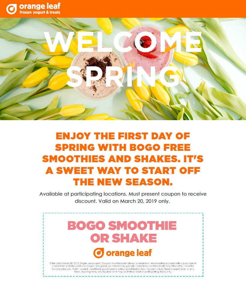 Orange Leaf Coupon November 2019 Second smoothie or shake free today at Orange Leaf
