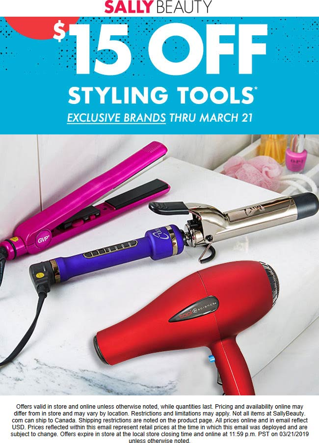 Sally Beauty Coupon November 2019 $15 off styling tools at Sally Beauty, ditto online