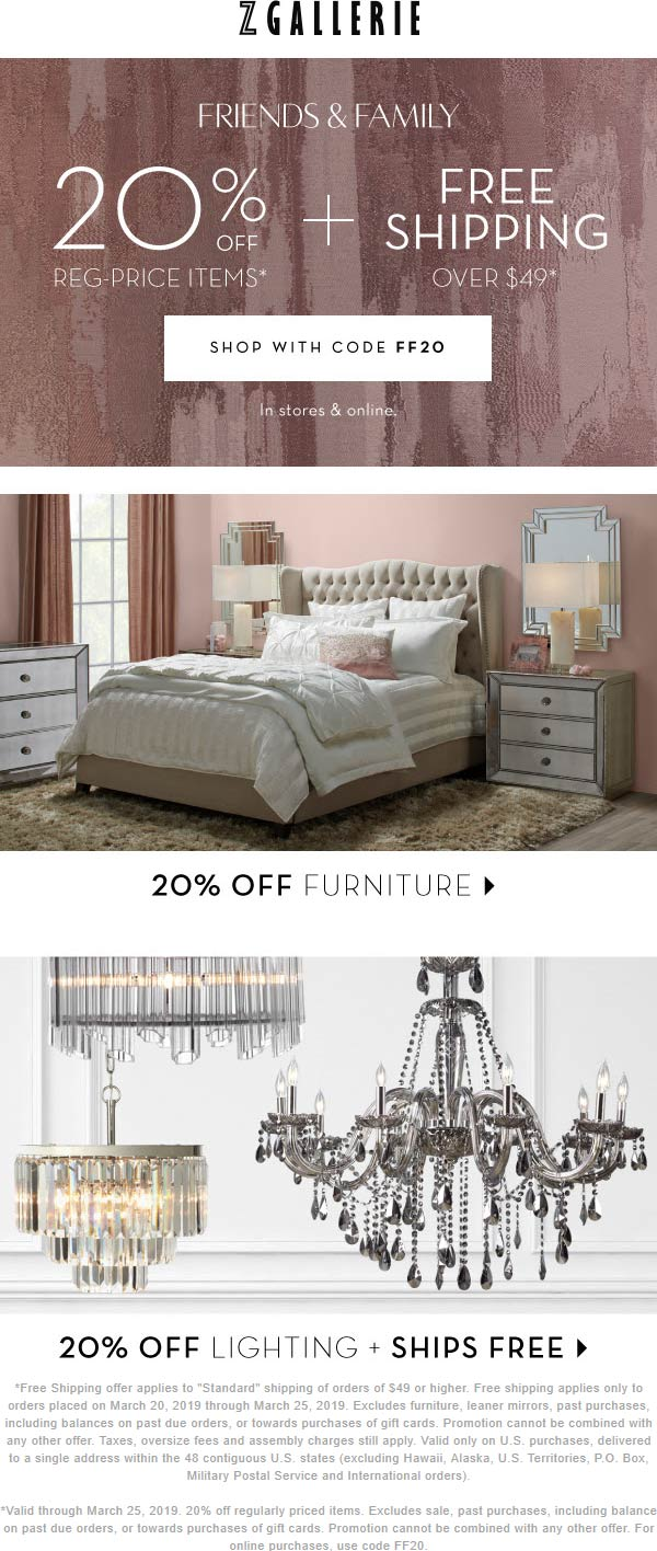 Z Gallerie Coupon October 2019 20% off at Z Gallerie, or online via promo code FF20
