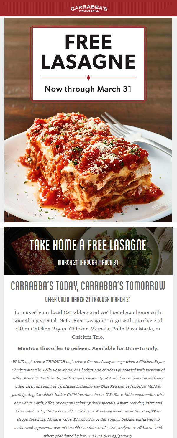 Carrabbas.com Promo Coupon Free takeout lasagna with your chicken at Carrabbas restaurants