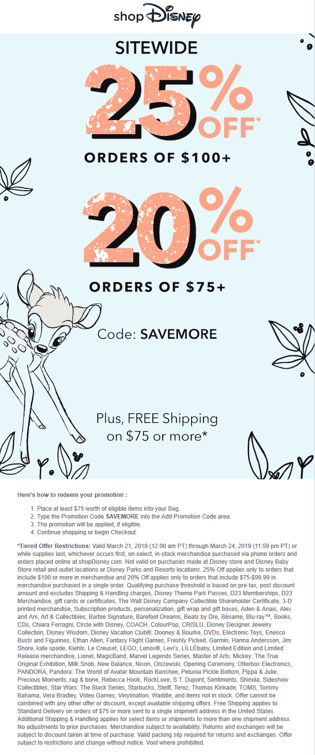 Disney Store Coupon November 2019 20-25% off $75 online at Disney store via promo code SAVEMORE