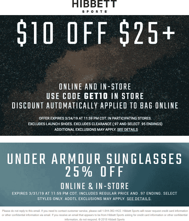 Hibbett Sports Coupon October 2019 $10 off $25 at Hibbett Sports, or online via promo code GET10