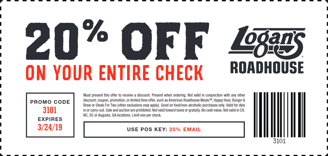 Logans Roadhouse Coupon May 2019 20% off at Logans Roadhouse restaurants