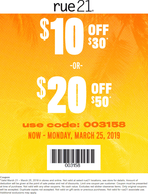 Rue21 Coupon April 2019 $10 off $30 & more at rue21, or online via promo code 003158