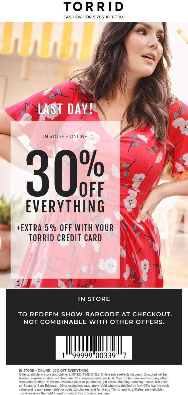 Torrid.com Promo Coupon 30% off everything today at Torrid, ditto online