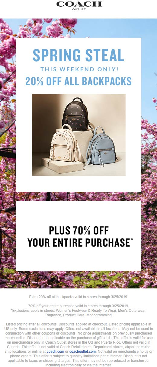 Coach Outlet Coupon September 2019 20% off backpacks + 70% off everything at Coach Outlet
