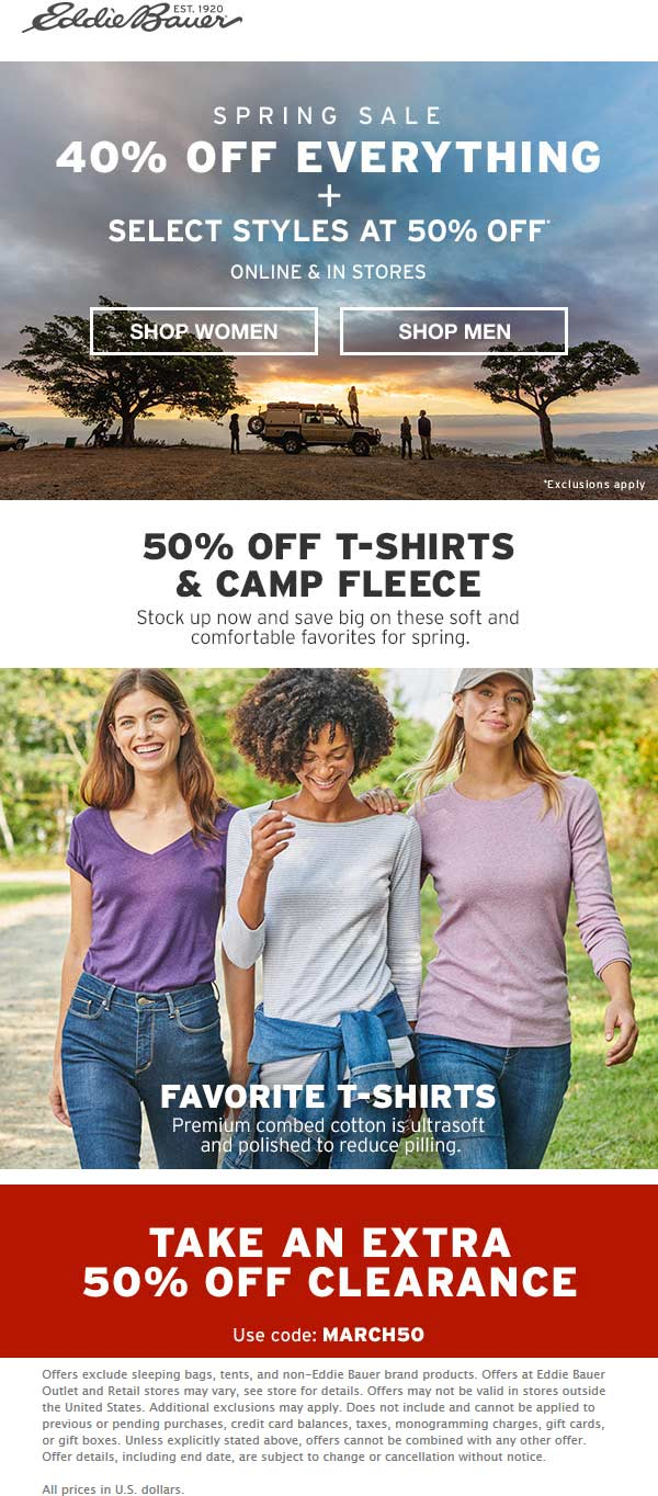 Eddie Bauer Coupon December 2019 40% off everything & more at Eddie Bauer, or online via promo code MARCH50